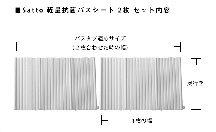 kusu kusu works Satto 軽量抗菌バスシート 2枚セット