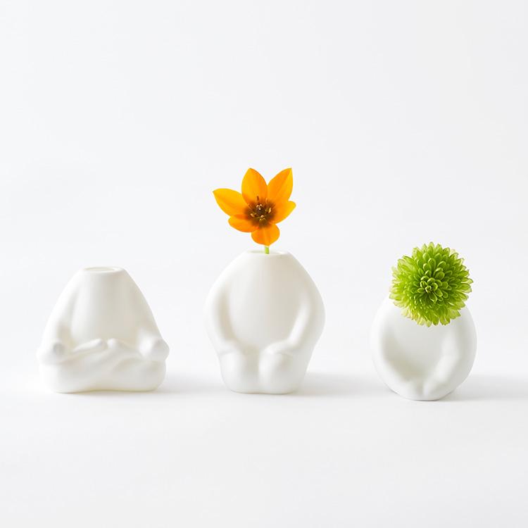 フラワーマンミニ ふらわーまん みに 一輪挿し 花瓶 花器 かお せいざ あぐら おじぎ よが 仏像 磁器 可愛い プレゼント