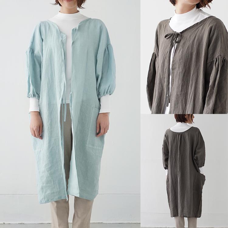 さにーろけーしょん えぷろん かっぽうぎ 麻 日本製 茶色 リボン 母の日 かっぽう着, 国産, 2way